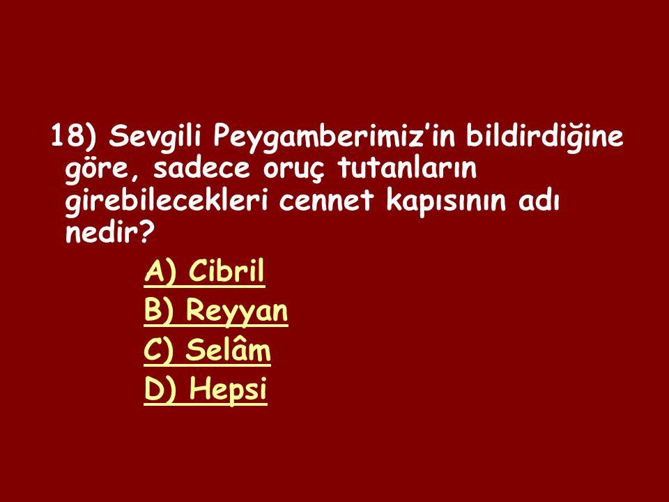 17) Şevval orucunu tutmanın dini hükmü nedir? A) Müstehap B) Sünnet C) Mekruh D) Vacip