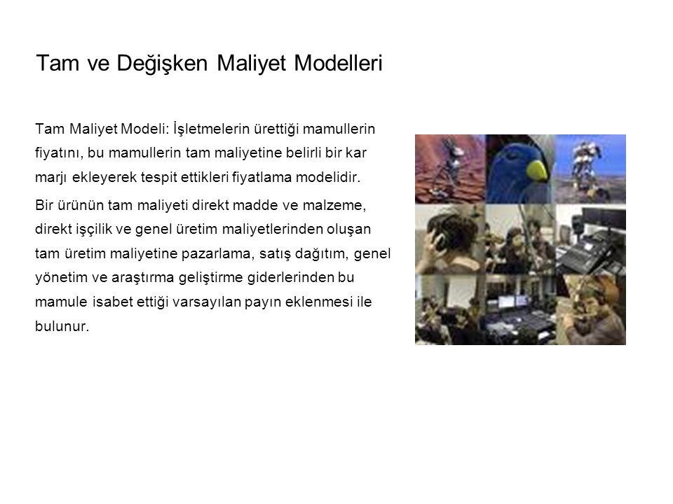 Tam ve Değişken Maliyet Modelleri Tam Maliyet Modeli: İşletmelerin ürettiği mamullerin fiyatını, bu mamullerin tam maliyetine belirli bir kar marjı ekleyerek tespit ettikleri fiyatlama modelidir.