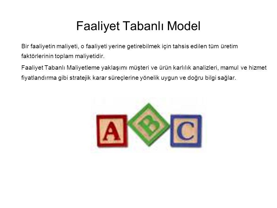 Faaliyet Tabanlı Model Bir faaliyetin maliyeti, o faaliyeti yerine getirebilmek için tahsis edilen tüm üretim faktörlerinin toplam maliyetidir.