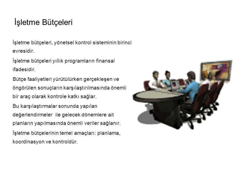İşletme Bütçeleri İşletme bütçeleri, yönetsel kontrol sisteminin birinci evresidir.