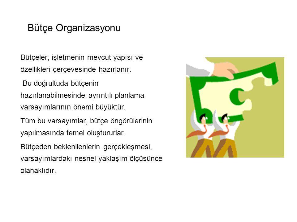 Bütçe Organizasyonu Bütçeler, işletmenin mevcut yapısı ve özellikleri çerçevesinde hazırlanır.