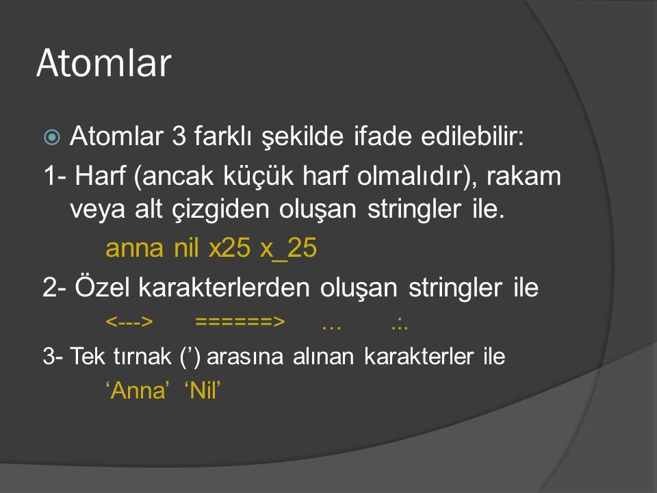 Atomlar  Atomlar 3 farklı şekilde ifade edilebilir: 1- Harf (ancak küçük harf olmalıdır), rakam veya alt çizgiden oluşan stringler ile. anna nil x25