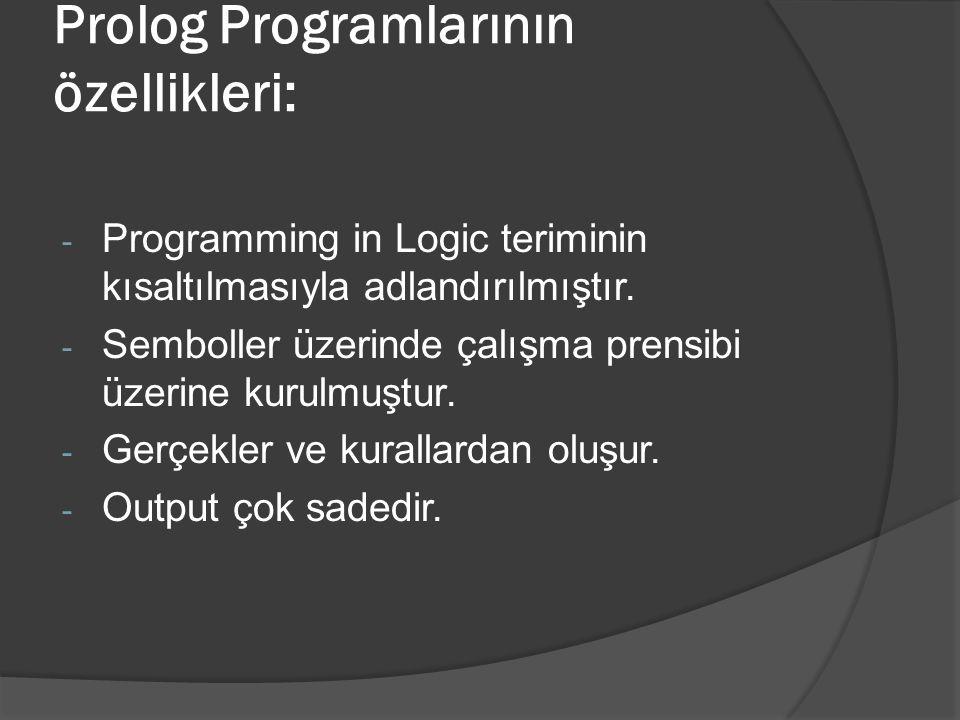 Prolog Programlarının özellikleri: - Programming in Logic teriminin kısaltılmasıyla adlandırılmıştır. - Semboller üzerinde çalışma prensibi üzerine ku