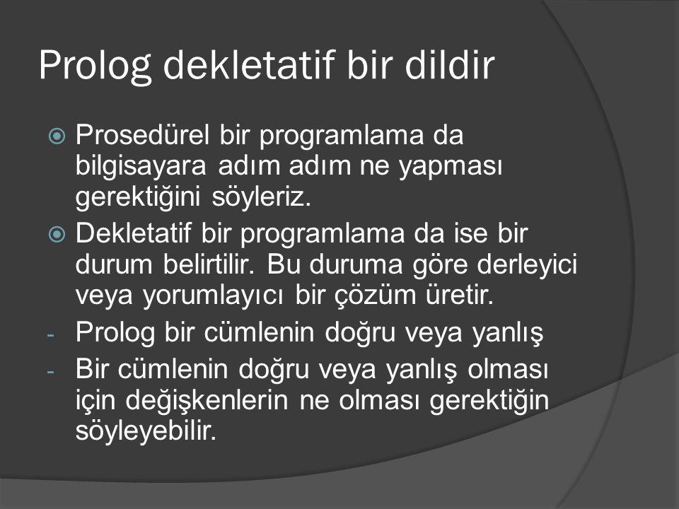 Prolog dekletatif bir dildir  Prosedürel bir programlama da bilgisayara adım adım ne yapması gerektiğini söyleriz.  Dekletatif bir programlama da is