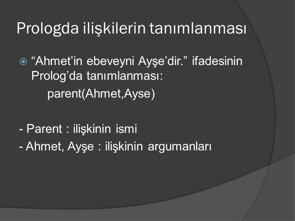 """Prologda ilişkilerin tanımlanması  """"Ahmet'in ebeveyni Ayşe'dir."""" ifadesinin Prolog'da tanımlanması: parent(Ahmet,Ayse) - Parent : ilişkinin ismi - Ah"""