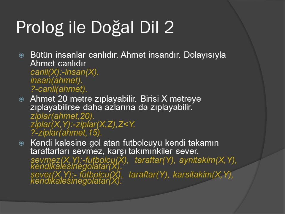 Genel olarak Prolog programları Prolog programları küçük cümlelerden oluşur.