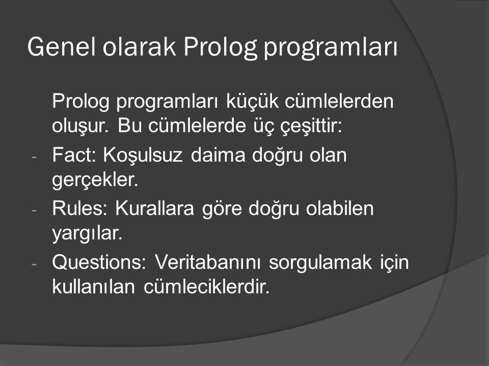 Genel olarak Prolog programları Prolog programları küçük cümlelerden oluşur. Bu cümlelerde üç çeşittir: - Fact: Koşulsuz daima doğru olan gerçekler. -