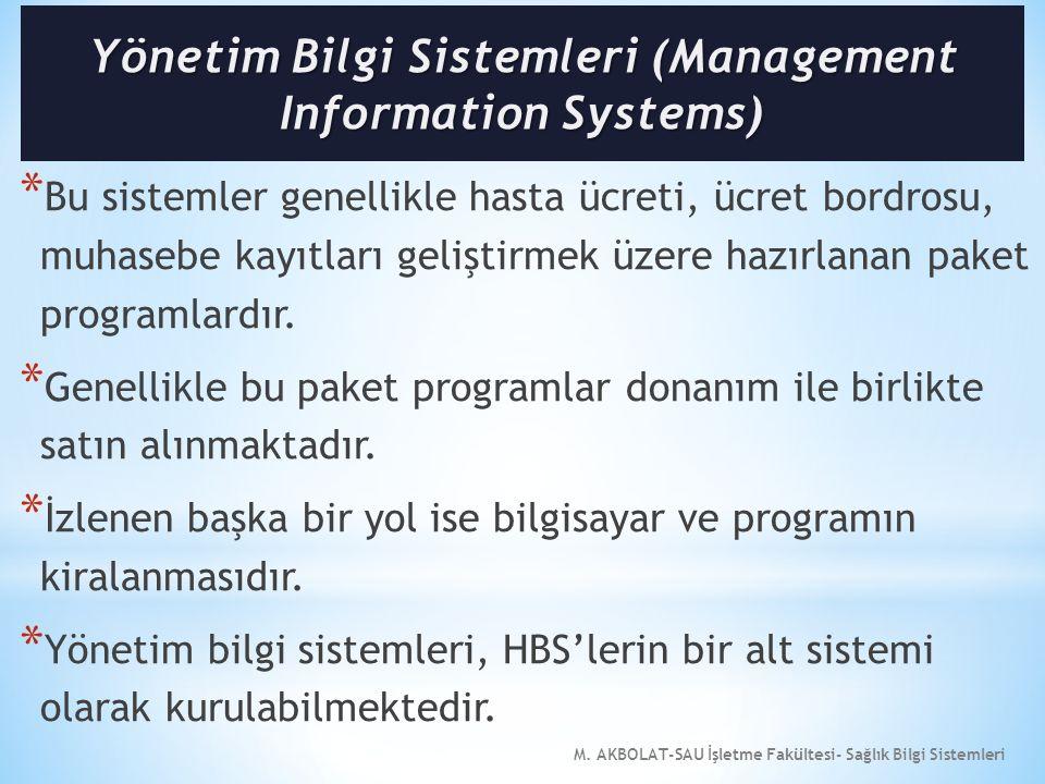M. AKBOLAT-SAU İşletme Fakültesi- Sağlık Bilgi Sistemleri * Bu sistemler genellikle hasta ücreti, ücret bordrosu, muhasebe kayıtları geliştirmek üzere