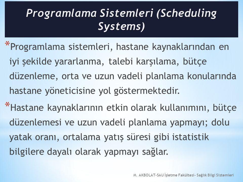 M. AKBOLAT-SAU İşletme Fakültesi- Sağlık Bilgi Sistemleri * Programlama sistemleri, hastane kaynaklarından en iyi şekilde yararlanma, talebi karşılama