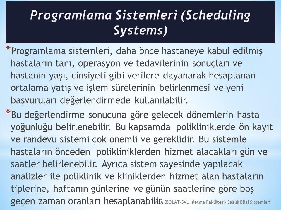 M. AKBOLAT-SAU İşletme Fakültesi- Sağlık Bilgi Sistemleri * Programlama sistemleri, daha önce hastaneye kabul edilmiş hastaların tanı, operasyon ve te