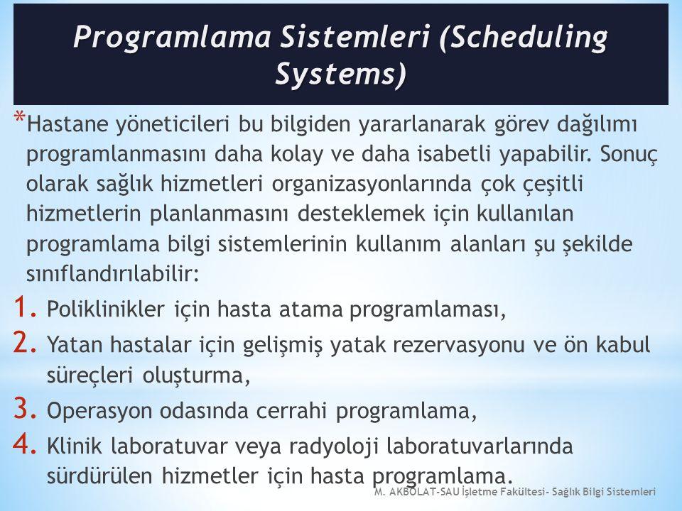M. AKBOLAT-SAU İşletme Fakültesi- Sağlık Bilgi Sistemleri * Hastane yöneticileri bu bilgiden yararlanarak görev dağılımı programlanmasını daha kolay v