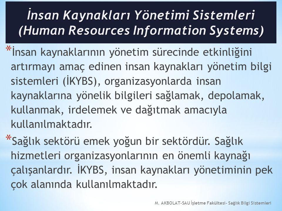 M. AKBOLAT-SAU İşletme Fakültesi- Sağlık Bilgi Sistemleri * İnsan kaynaklarının yönetim sürecinde etkinliğini artırmayı amaç edinen insan kaynakları y