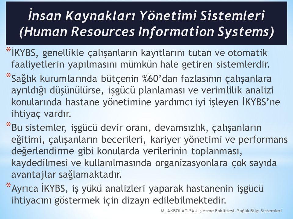 M. AKBOLAT-SAU İşletme Fakültesi- Sağlık Bilgi Sistemleri * İKYBS, genellikle çalışanların kayıtlarını tutan ve otomatik faaliyetlerin yapılmasını müm