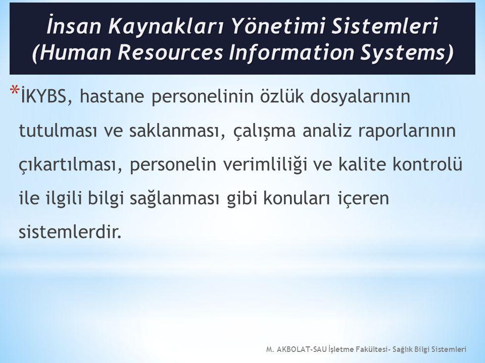 M. AKBOLAT-SAU İşletme Fakültesi- Sağlık Bilgi Sistemleri * İKYBS, hastane personelinin özlük dosyalarının tutulması ve saklanması, çalışma analiz rap