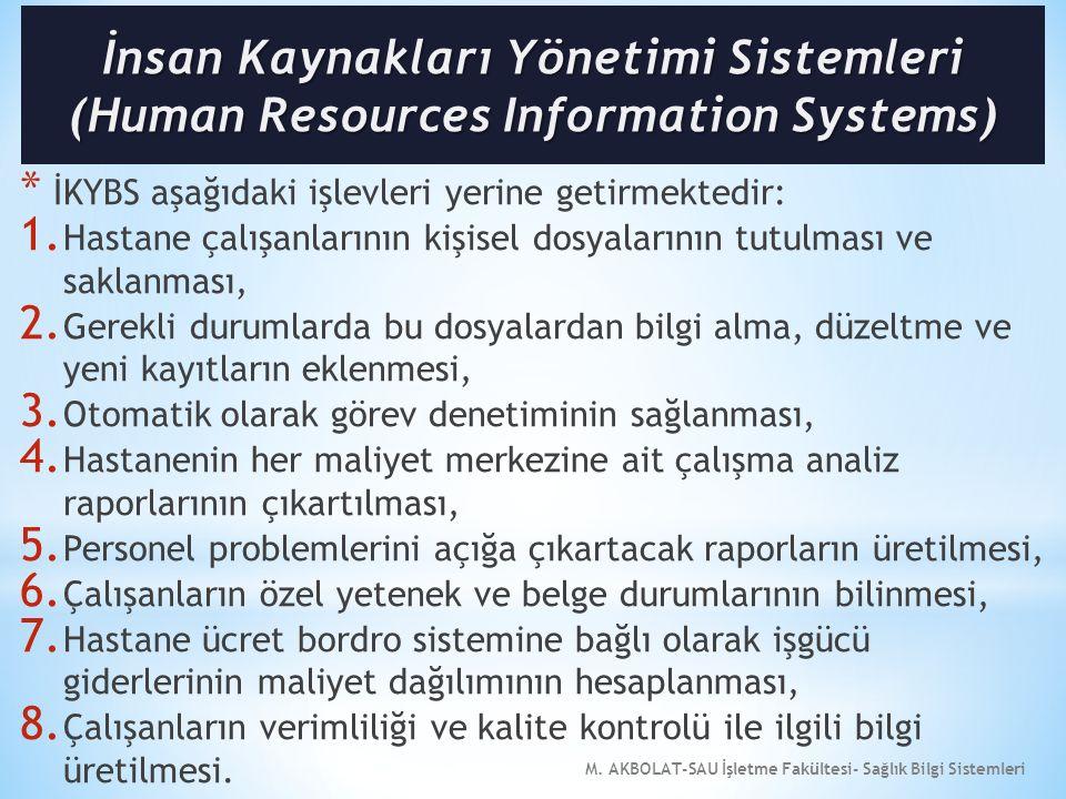 M. AKBOLAT-SAU İşletme Fakültesi- Sağlık Bilgi Sistemleri * İKYBS aşağıdaki işlevleri yerine getirmektedir: 1. Hastane çalışanlarının kişisel dosyalar