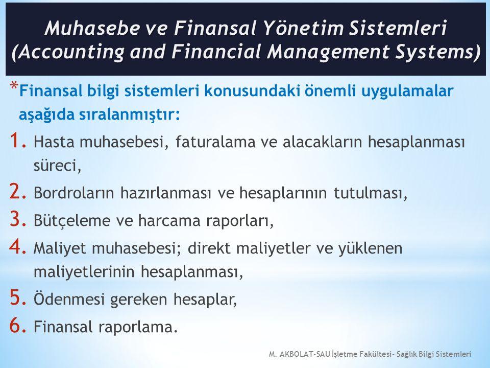 M. AKBOLAT-SAU İşletme Fakültesi- Sağlık Bilgi Sistemleri * Finansal bilgi sistemleri konusundaki önemli uygulamalar aşağıda sıralanmıştır: 1. Hasta m