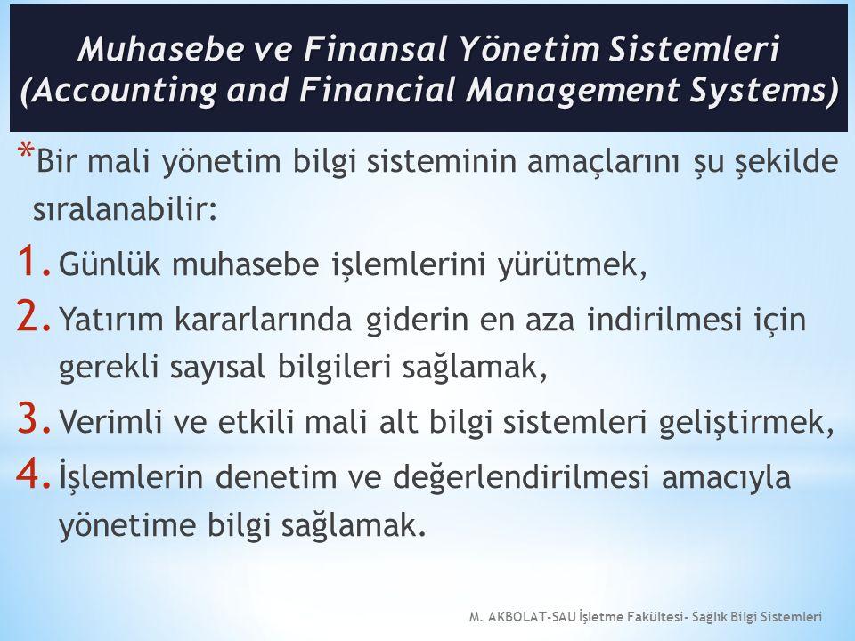 M. AKBOLAT-SAU İşletme Fakültesi- Sağlık Bilgi Sistemleri * Bir mali yönetim bilgi sisteminin amaçlarını şu şekilde sıralanabilir: 1. Günlük muhasebe