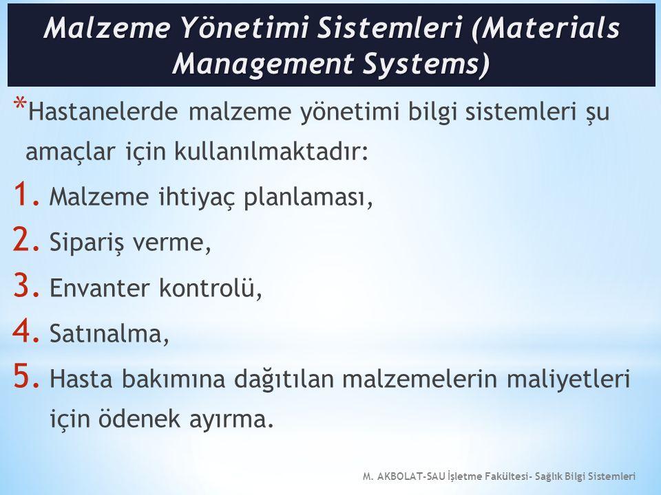 M. AKBOLAT-SAU İşletme Fakültesi- Sağlık Bilgi Sistemleri * Hastanelerde malzeme yönetimi bilgi sistemleri şu amaçlar için kullanılmaktadır: 1. Malzem