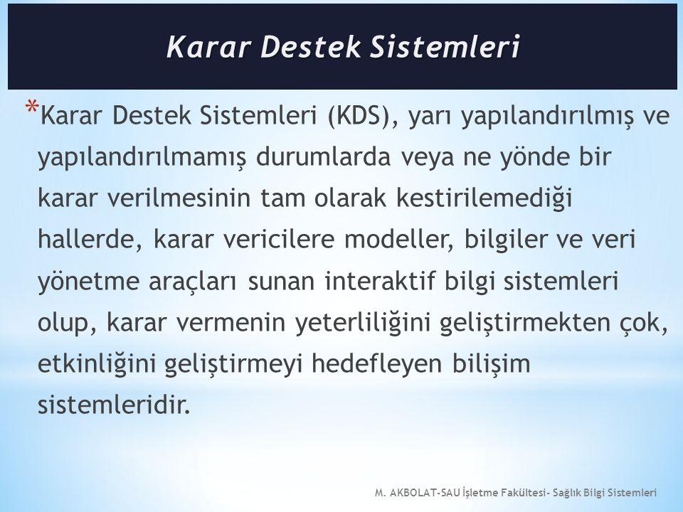 M. AKBOLAT-SAU İşletme Fakültesi- Sağlık Bilgi Sistemleri * Karar Destek Sistemleri (KDS), yarı yapılandırılmış ve yapılandırılmamış durumlarda veya n