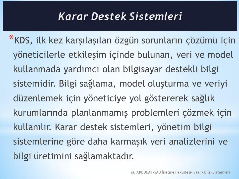 M. AKBOLAT-SAU İşletme Fakültesi- Sağlık Bilgi Sistemleri * KDS, ilk kez karşılaşılan özgün sorunların çözümü için yöneticilerle etkileşim içinde bulu