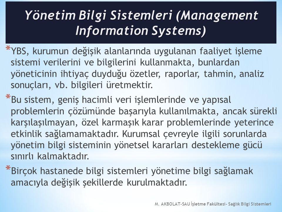 M. AKBOLAT-SAU İşletme Fakültesi- Sağlık Bilgi Sistemleri * YBS, kurumun değişik alanlarında uygulanan faaliyet işleme sistemi verilerini ve bilgileri