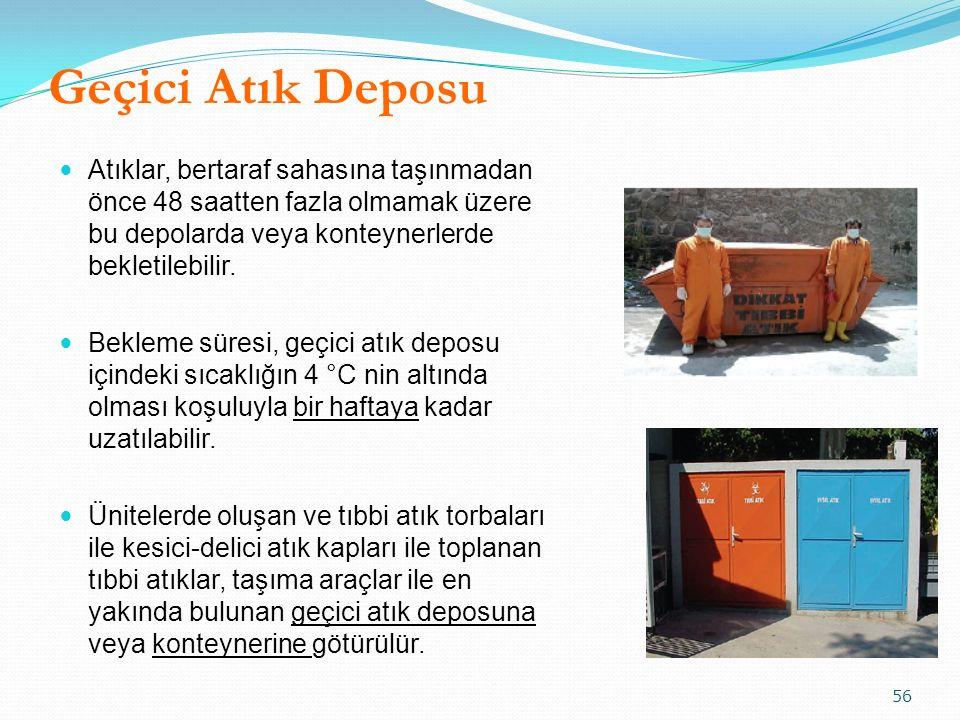 Geçici Atık Deposu Atıklar, bertaraf sahasına taşınmadan önce 48 saatten fazla olmamak üzere bu depolarda veya konteynerlerde bekletilebilir. Bekleme