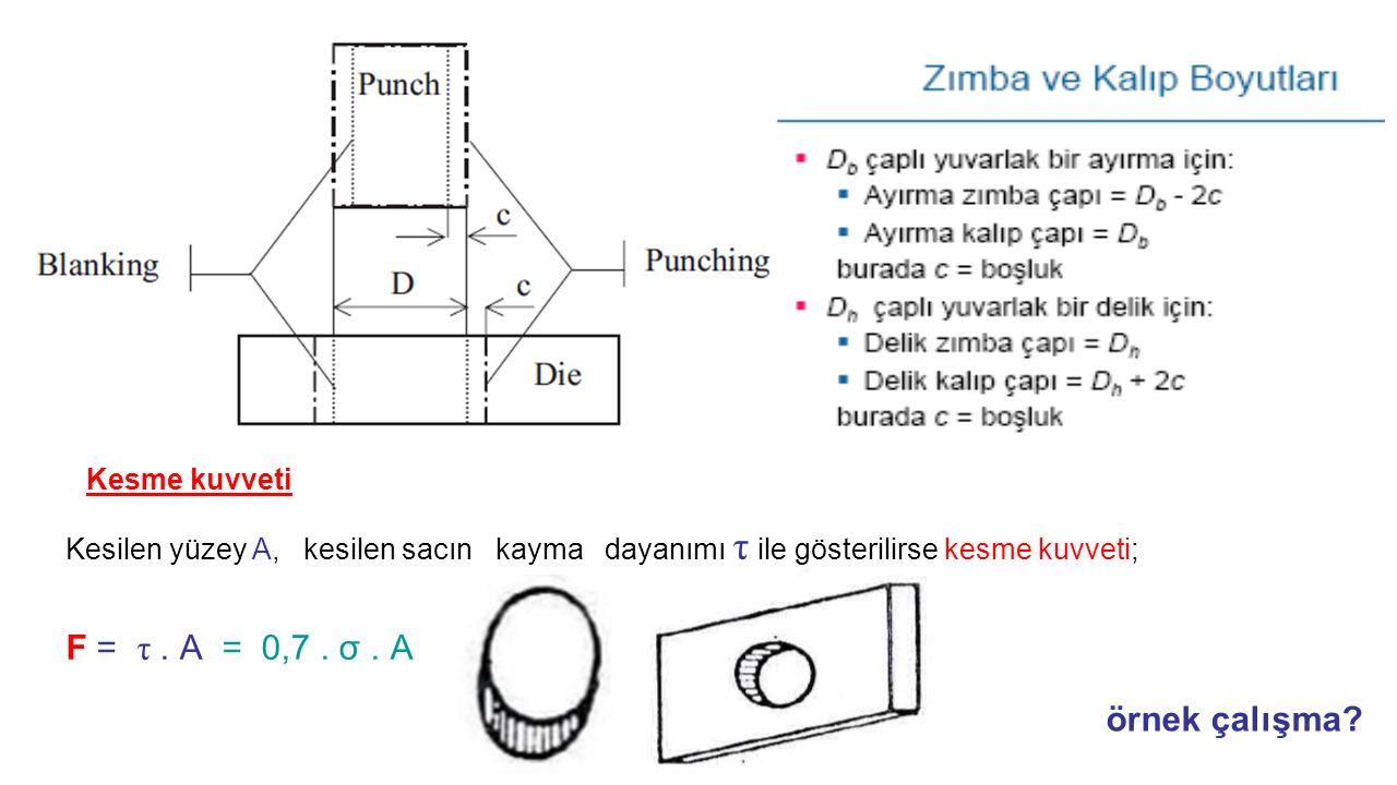 Kesme kuvveti Kesilen yüzey A, kesilen sacın kayma dayanımı τ ile gösterilirse kesme kuvveti; F = τ. A = 0,7. σ. A örnek çalışma?