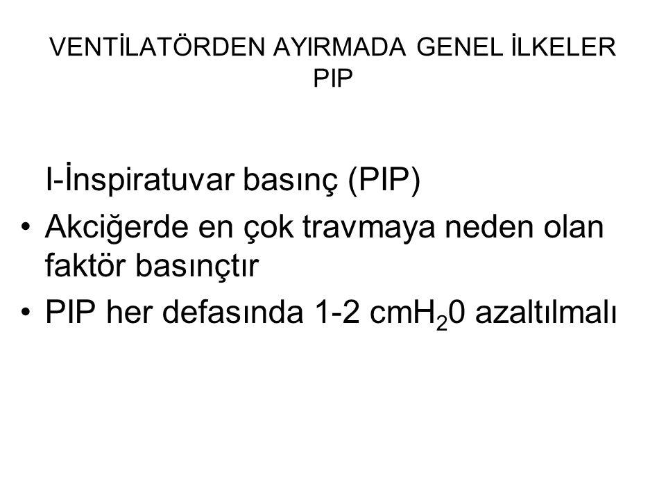 VENTİLATÖRDEN AYIRMADA GENEL İLKELER PIP I-İnspiratuvar basınç (PIP) Akciğerde en çok travmaya neden olan faktör basınçtır PIP her defasında 1-2 cmH 2