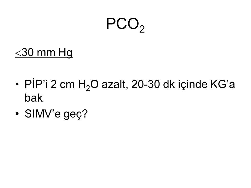 PCO 2  30 mm Hg PİP'i 2 cm H 2 O azalt, 20-30 dk içinde KG'a bak SIMV'e geç?