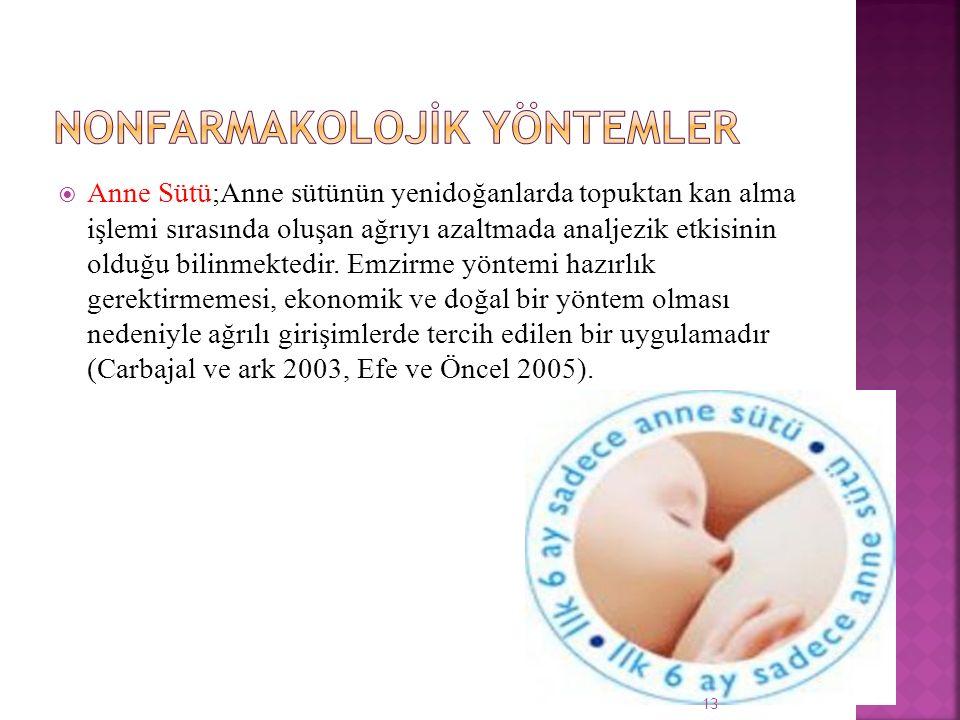  Anne Sütü;Anne sütünün yenidoğanlarda topuktan kan alma işlemi sırasında oluşan ağrıyı azaltmada analjezik etkisinin olduğu bilinmektedir. Emzirme y