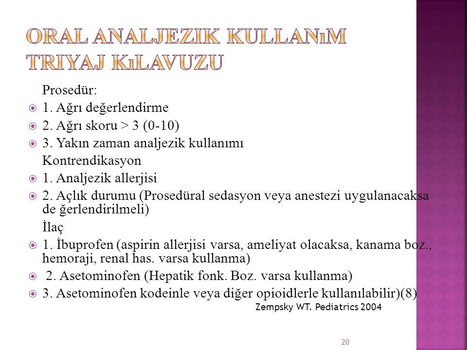Prosedür:  1. Ağrı değerlendirme  2. Ağrı skoru > 3 (0-10)  3. Yakın zaman analjezik kullanımı Kontrendikasyon  1. Analjezik allerjisi  2. Açlık