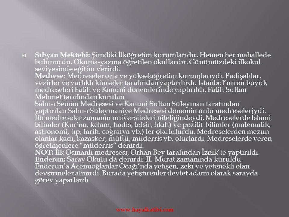  Sıbyan Mektebi: Şimdiki İlköğretim kurumlarıdır.