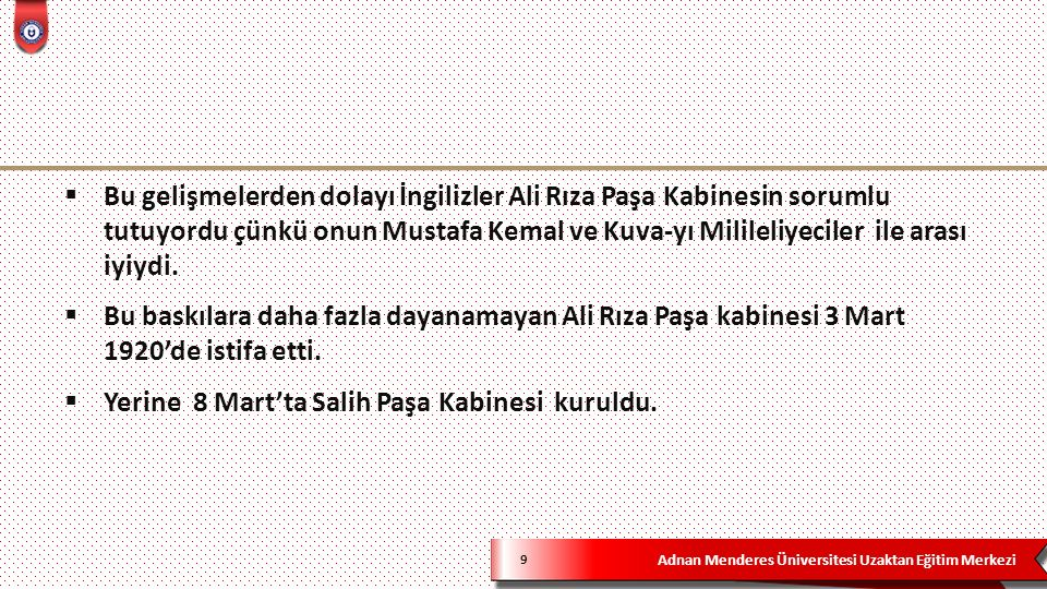 Adnan Menderes Üniversitesi Uzaktan Eğitim Merkezi 9  Bu gelişmelerden dolayı İngilizler Ali Rıza Paşa Kabinesin sorumlu tutuyordu çünkü onun Mustafa Kemal ve Kuva-yı Milileliyeciler ile arası iyiydi.