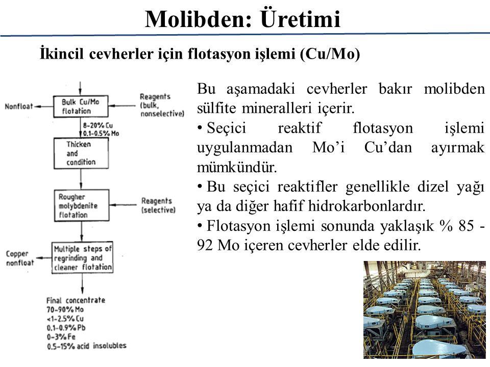 Molibden: Üretimi İkincil cevherler için flotasyon işlemi (Cu/Mo) Bu aşamadaki cevherler bakır molibden sülfite mineralleri içerir. Seçici reaktif flo