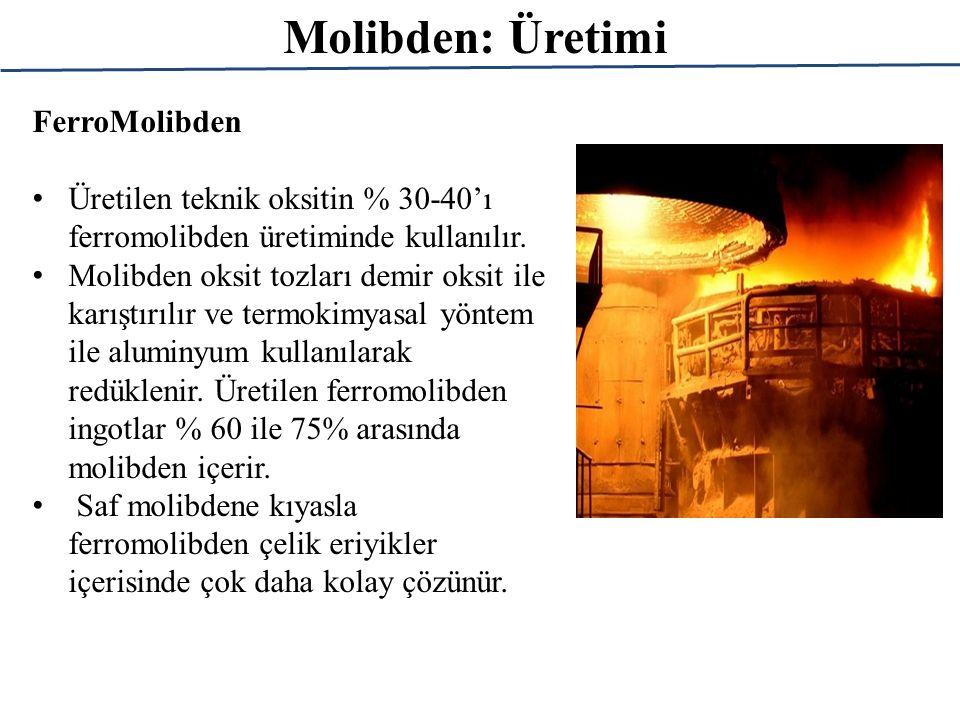 Molibden: Üretimi FerroMolibden Üretilen teknik oksitin % 30-40'ı ferromolibden üretiminde kullanılır. Molibden oksit tozları demir oksit ile karıştır