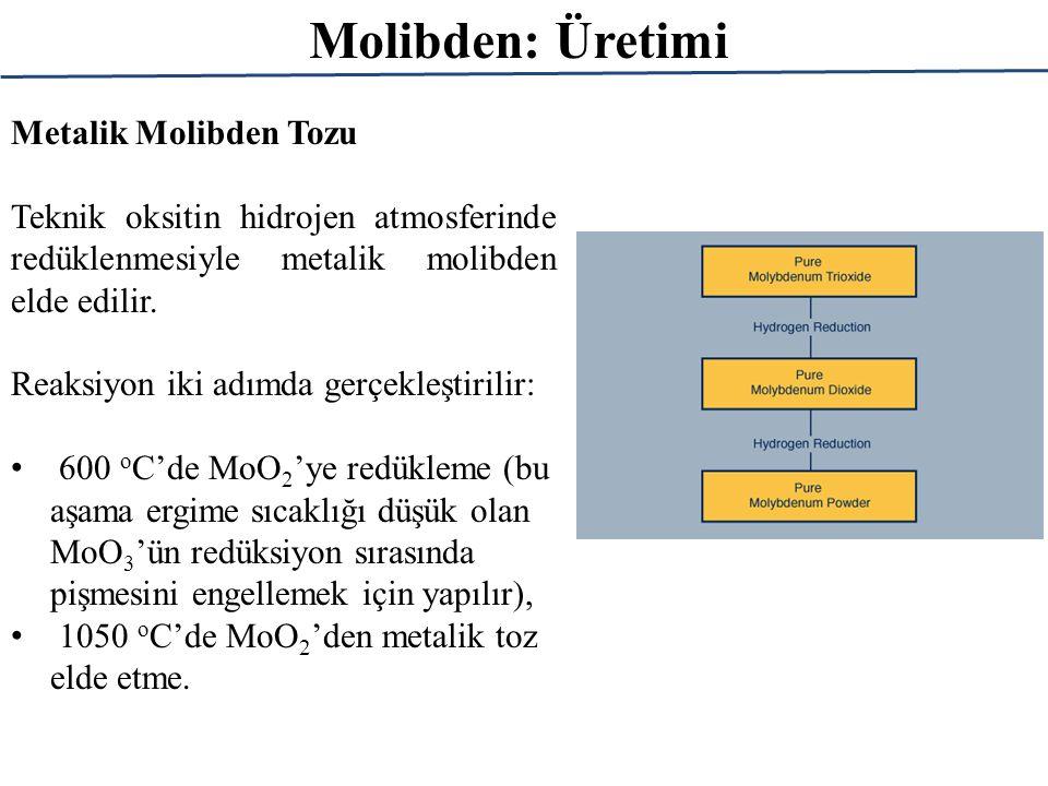 Molibden: Üretimi Metalik Molibden Tozu Teknik oksitin hidrojen atmosferinde redüklenmesiyle metalik molibden elde edilir. Reaksiyon iki adımda gerçek