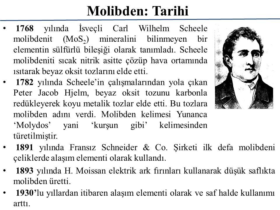 Molibden: Tarihi 1768 yılında İsveçli Carl Wilhelm Scheele molibdenit (MoS 2 ) mineralini bilinmeyen bir elementin sülfürlü bileşiği olarak tanımladı.