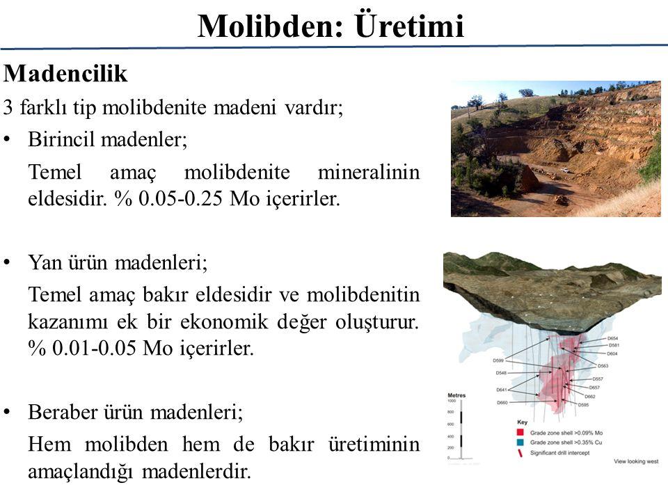 Molibden: Üretimi Madencilik 3 farklı tip molibdenite madeni vardır; Birincil madenler; Temel amaç molibdenite mineralinin eldesidir. % 0.05-0.25 Mo i