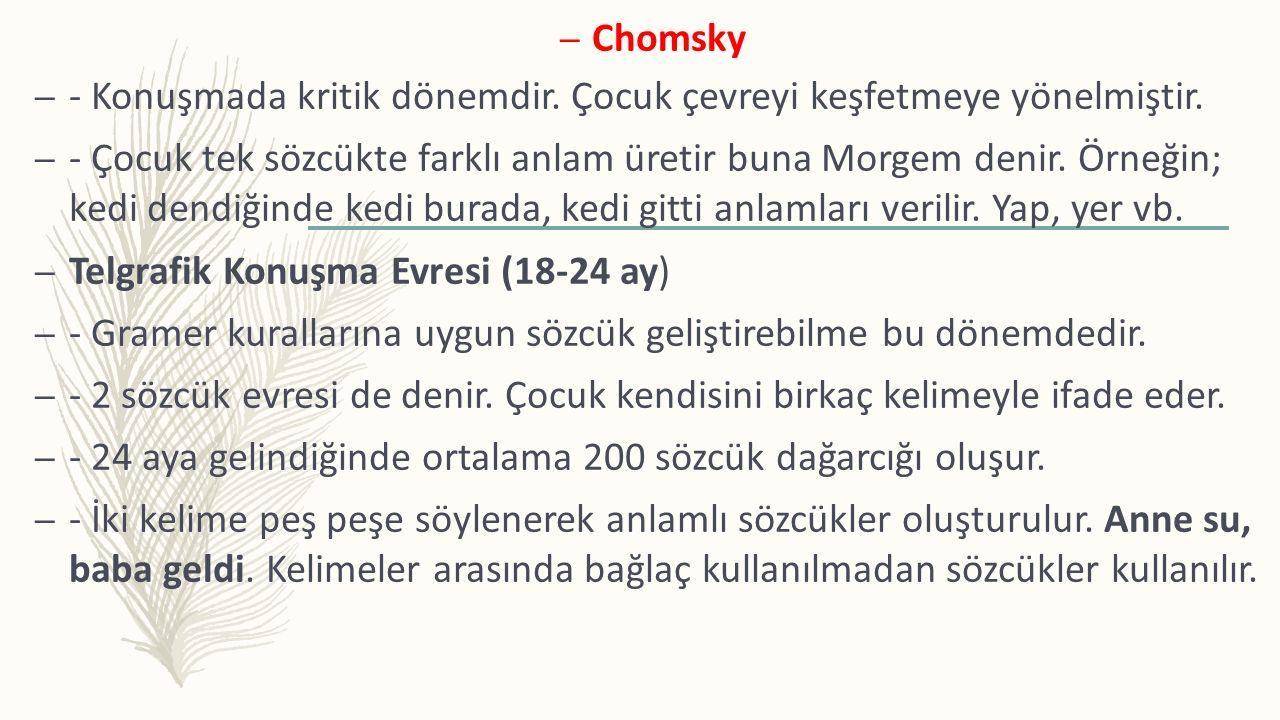 – Chomsky – - Konuşmada kritik dönemdir. Çocuk çevreyi keşfetmeye yönelmiştir. – - Çocuk tek sözcükte farklı anlam üretir buna Morgem denir. Örneğin;