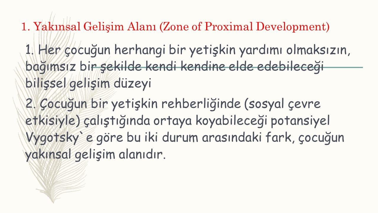 1. Yakınsal Gelişim Alanı (Zone of Proximal Development) 1. Her çocuğun herhangi bir yetişkin yardımı olmaksızın, bağımsız bir şekilde kendi kendine e