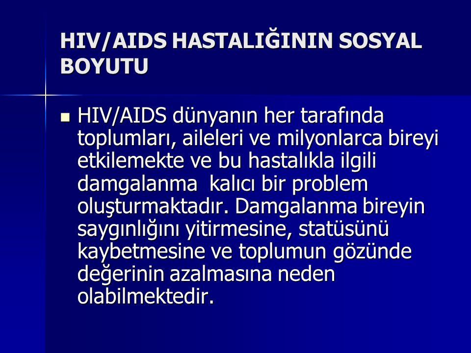 HIV/AIDS HASTALIĞININ SOSYAL BOYUTU HIV/AIDS dünyanın her tarafında toplumları, aileleri ve milyonlarca bireyi etkilemekte ve bu hastalıkla ilgili dam