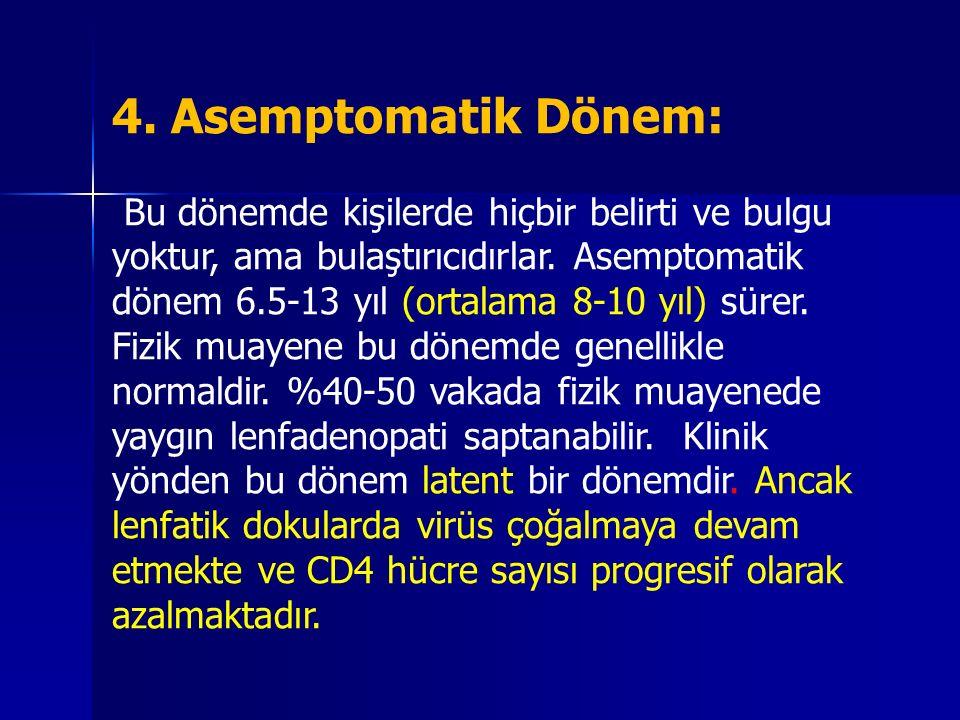 4. Asemptomatik Dönem: Bu dönemde kişilerde hiçbir belirti ve bulgu yoktur, ama bulaştırıcıdırlar. Asemptomatik dönem 6.5-13 yıl (ortalama 8-10 yıl) s