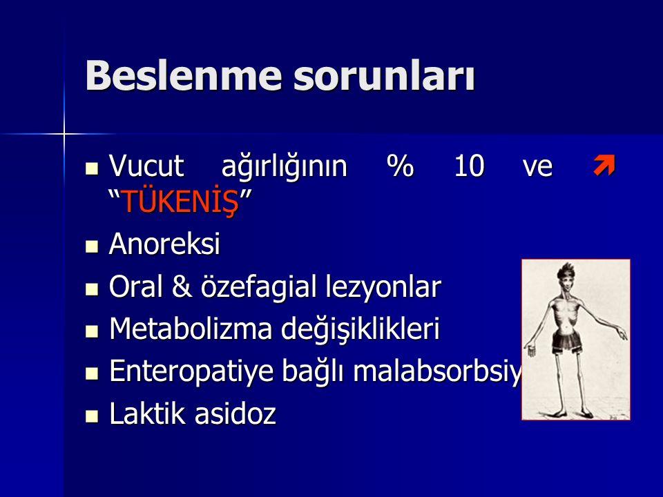 """Beslenme sorunları Vucut ağırlığının % 10 ve  """"TÜKENİŞ"""" Vucut ağırlığının % 10 ve  """"TÜKENİŞ"""" Anoreksi Anoreksi Oral & özefagial lezyonlar Oral & öze"""