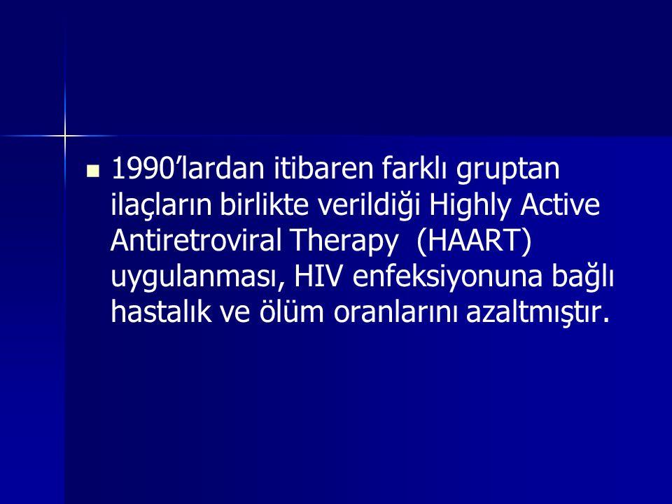 1990'lardan itibaren farklı gruptan ilaçların birlikte verildiği Highly Active Antiretroviral Therapy (HAART) uygulanması, HIV enfeksiyonuna bağlı has