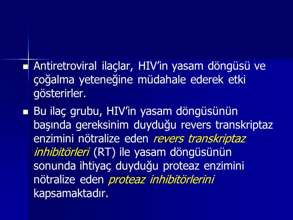 Antiretroviral ilaçlar, HIV'in yasam döngüsü ve çoğalma yeteneğine müdahale ederek etki gösterirler. Bu ilaç grubu, HIV'in yasam döngüsünün başında ge