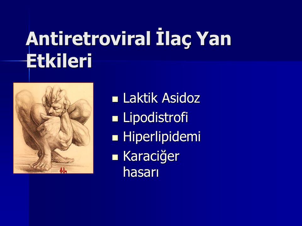 Antiretroviral İlaç Yan Etkileri Laktik Asidoz Laktik Asidoz Lipodistrofi Lipodistrofi Hiperlipidemi Hiperlipidemi Karaciğer hasarı Karaciğer hasarı