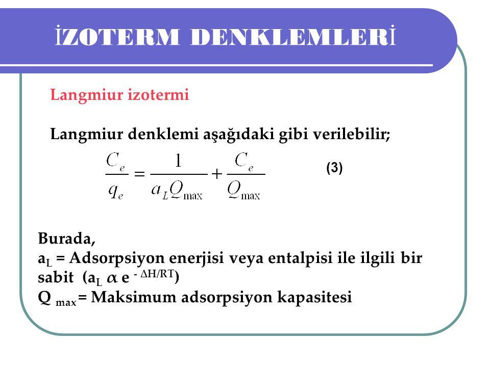 İ ZOTERM DENKLEMLER İ Langmiur izotermi Langmiur denklemi aşağıdaki gibi verilebilir; (3) Burada, a L = Adsorpsiyon enerjisi veya entalpisi ile ilgili bir sabit (a L α e - ∆H/RT ) Q max = Maksimum adsorpsiyon kapasitesi