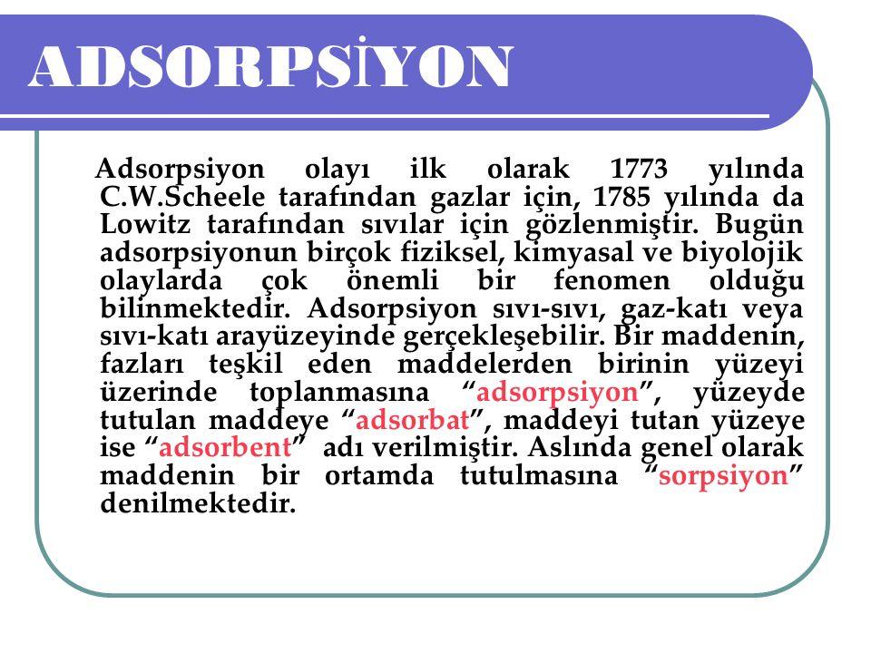 ADSORPSİYON KOLONLARININ PROJELEND İ R İ LMES İ 2.