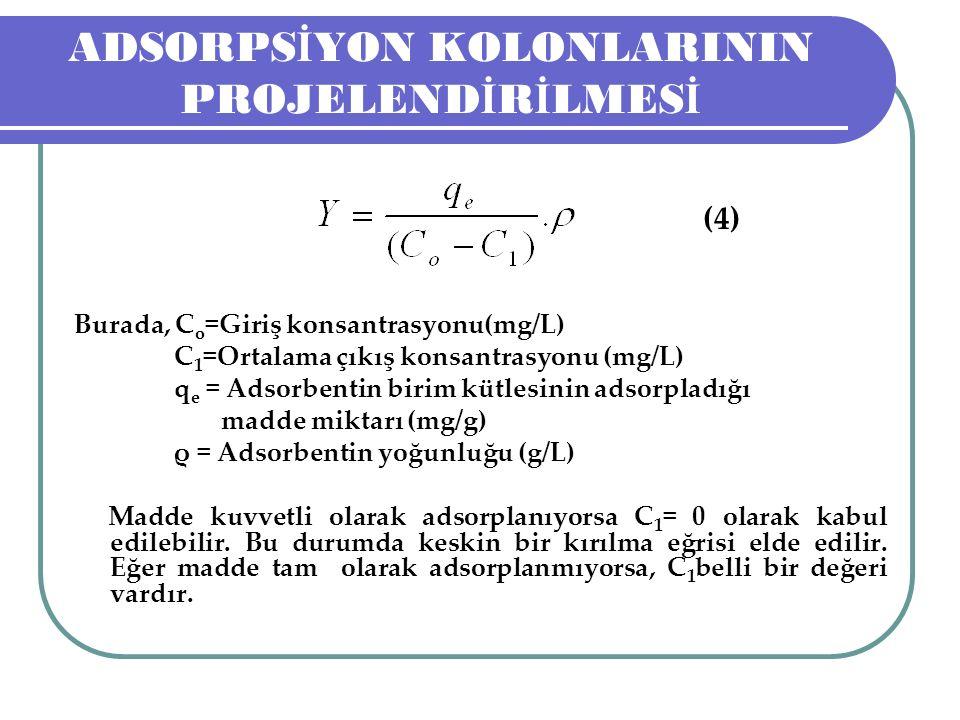 ADSORPS İ YON KOLONLARININ PROJELEND İ R İ LMES İ (4) Burada, C o =Giriş konsantrasyonu(mg/L) C 1 =Ortalama çıkış konsantrasyonu (mg/L) q e = Adsorbentin birim kütlesinin adsorpladığı madde miktarı (mg/g) ρ = Adsorbentin yoğunluğu (g/L) Madde kuvvetli olarak adsorplanıyorsa C 1 = 0 olarak kabul edilebilir.