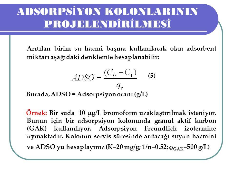 ADSORPS İ YON KOLONLARININ PROJELEND İ R İ LMES İ Arıtılan birim su hacmi başına kullanılacak olan adsorbent miktarı aşağıdaki denklemle hesaplanabilir: (5) Burada, ADSO = Adsorpsiyon oranı (g/L) Örnek: Bir suda 10 μg/L bromoform uzaklaştırılmak isteniyor.